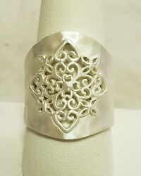 Brushed Finish Sterling Silver Wide Free Form Band Ring Size 10 Free Shipping