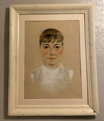 Professionally Matted Framed Pastel Portrait Young Audrey Hepburn Woman Signed,