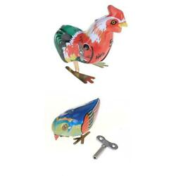 2 Wind Up Pecking Blue Bird Magpie + Cock Rooster Clockwork Tin Collectible Toy
