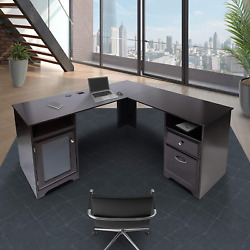 L Shaped Corner Computer Desk With Drawers Storage Modern Wood Study Table