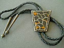 Native American Tortoise Shell Fish Scale Inlay Sterling Silver Cast Bolo Tie