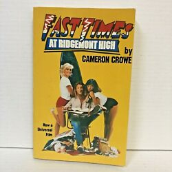 Fast Times At Ridgemont High Cameron Crowe 1982 Paperback Excellent Condition