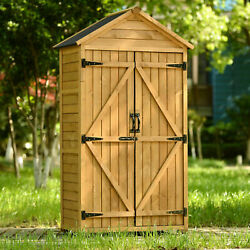 Outdoor Wood Storage Shed Tool Backyard Organizer W/ Lockable Doors And Shelves