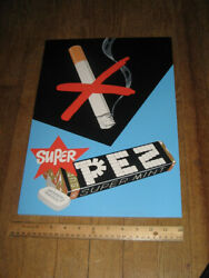 Pez Cardboard Store Display Sign 1960s Supermint Candy Pack Cigarette Anti-smoke