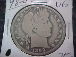 1898-o Vg Barber Half Dollar Ly And Part It