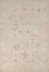 Muted Geometric Oushak Turkish Oriental Area Rug Hand-knotted Wool Carpet 5and039x7and039