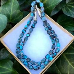 Navajo Gem Grade All Vintage Bizby Necklace Turquoise Sterling Silver Only Rare