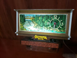 Vintage Olympia Beer Lighted Waterfall Motion Cash Register Bar Clock