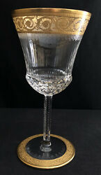 Mint St Louis Crystal Thistle 7-1/2 Solid Gold Band Water Glass Goblet France