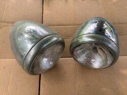 Pair Vintage Head Lite Guide Early Truck Light Automobile Lamp Chevrolet Gmc