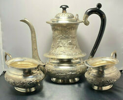 Antique Sterling Silver 3-piece Tea Serving Set W/ Hand Carved Art Made In India