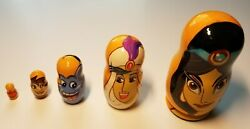 Disney Aladdin Wooden Russian Nesting Doll Handcrafted 5 Dolls Hand Painted