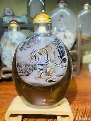 Chinese Natural Hair Crystal Snuff Bottle Hand Painting Tiger Art