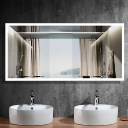 Hyh 84x40 In Large Led Lighted Bathroom Wall Mounted Mirror With High Lumen+anti