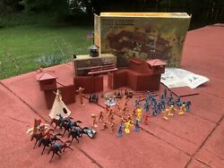 Vintage Marx Playset Fort Apache Indian Cavalry Play Set Boxed 1960s Nice 3681