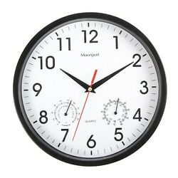 10 Inch Wall Clock Temperature Humidity Silent Quartz Battery Round Easy to Read