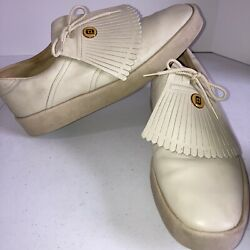 Menandrsquos Size 11 1/2 Foot Joy Vintage Golf Shoes Cream With Lace Cover Metal Decal