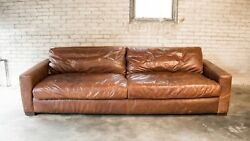 Restoration Hardware And039maxwelland039 9ft Luxe Distressed Cigar Leather Sofa