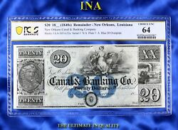 Ina Louisiana New Orleans Canal Bank 20 Pcgs 64 Perfect Obverse Margins Scarce