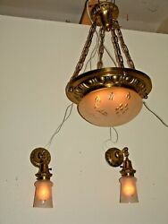 Chandelier And Two Sconce Matched Set 1920 Cut Glass Frosted Shades.