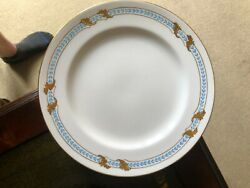 8 - Antique Minton For And Co Plates H260 Raised Sky Blue And Gold Gilt