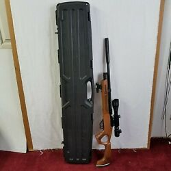 Hatsan Wood Flash Qe .25 Cal Air Rifle With Scope And Green Laser Dot Hard Case