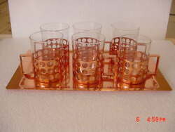 Vintage Copper 12 Part Tea Glasses Set With Tray Signed Sigg Switzerland 50's