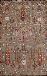 5and039x7and039 Vegetable Dye Tribal Super Kazak Oriental Area Rug Geometric Hand-knotted