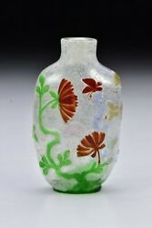 Chinese Four Color Peking Glass Snuff Bottle Flowers And Butterflies 18th Cent