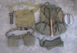 Old Us Ww2 Era M-1945 Combat Backpack And Shovel And Canteens And Flashlight Used