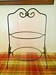 Longaberger Foundry Wrought Iron 2 Tier Pie Server Stand For Large Pie Plates