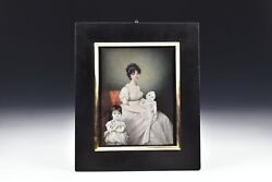 Georgian Miniature Portrait Painting Of Mother And Children 19th Century