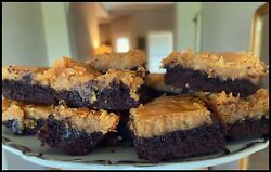 Homemade Chocolate Peanut Butter Ooey Gooey Butter Cake Squares