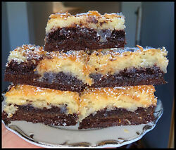 Homemade CHOCOLATE COCONUT Ooey Gooey Butter Cake Squares