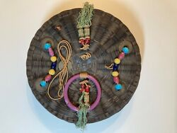 Antique Chinese Sewing Basket Wicker With Coin And Peking Glass Beads