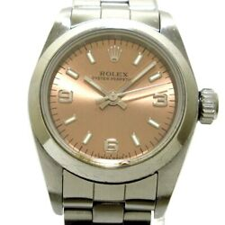 Auth Rolex Oyster Perpetual 67180 Pink Womens Wrist Watch