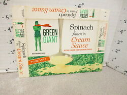 Green Giant 1960s Spinach Cream Sauce Vintage Frozen Vegetable Food 1 Box
