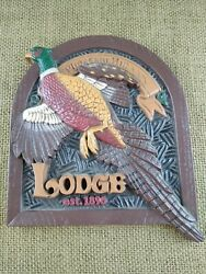 Vintage Plastic Sign Pheasant Hill Lodge Man Cave Hunting Or Bar Home Interiors