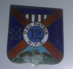 U.s. Army Di Pin 12th Regiment New York State Guard Pin Newcome And Co Sterling