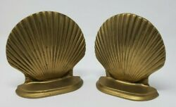 Vintage Solid Brass Clam Shell Bookends Book Ends Ocean Nautical Beach Décor