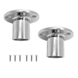 1 Pair Stainless Steel Boat Hand Rail Fitting 25mm Round Stanchion Base