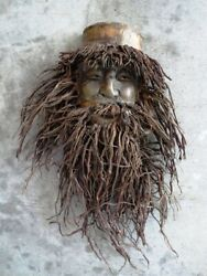 Antique Asian Hand Carved Bamboo Root Old Man Wall Plaque, Mask