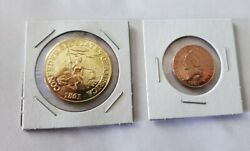 Confederate Gold 20 Coin Double Eagle And 1861 Cent Penny Restrike Lot Of 2