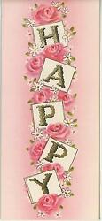 Vintage Pink Roses Alphabet Gold Letters Happy Birthday Flowers Card Art Print