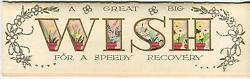 Vintage Die Cut Alphabet Letters W I S H Wish Garden Potted Flowers Card Print