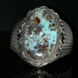 Signed Native American Navajo Sterling Silver And Dry Creek Turquoise Cuff