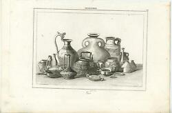 Antique Copper Plate Engraving Art Print Of Old England Pottery Earthenware