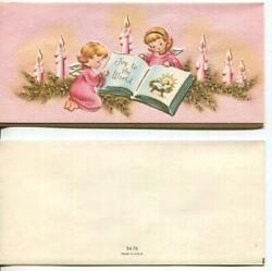 Vintage Christmas Pink Angels Candles Joy To The World Christ Pine Greeting Card