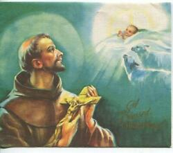Vintage Christmas Blessings St Francis Of Assisi Angels Christ Greeting Art Card