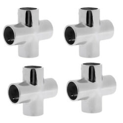 4x 316 Stainless Steel 90 Degree 4 Way Boat Hand Rail Fitting For 22mm Pipe